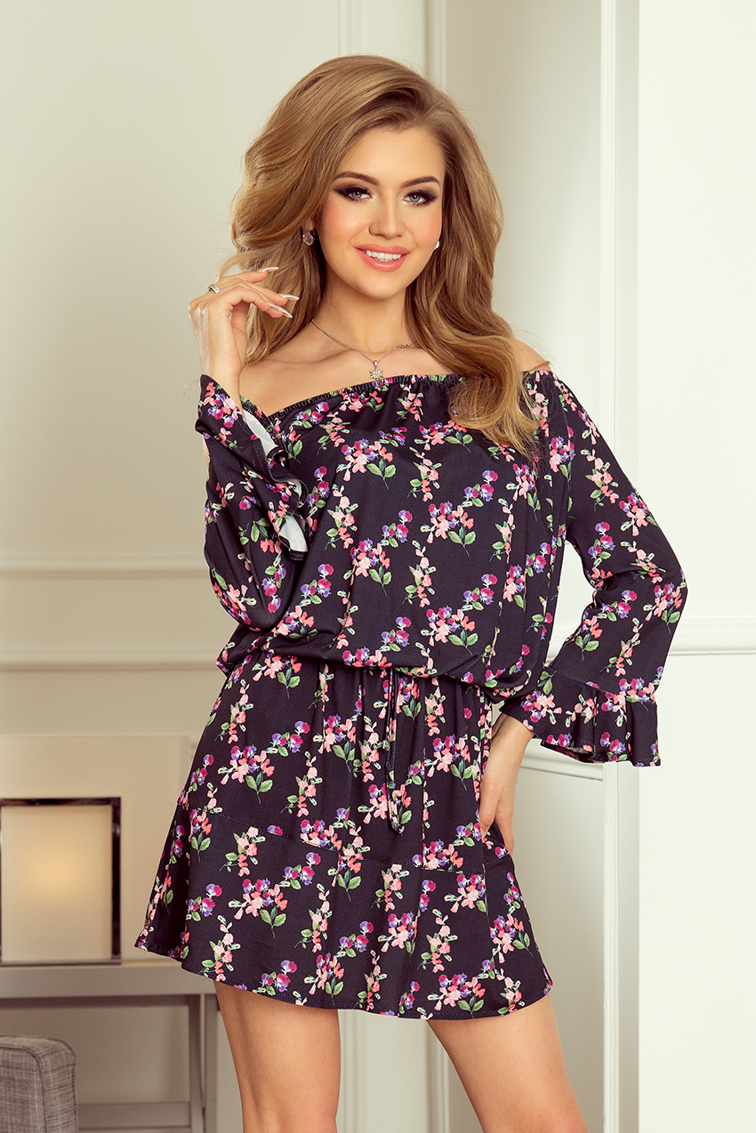 7c29fcf3f788 198-3 JULIE Dress with flounces on the sleeves - small flowers + black