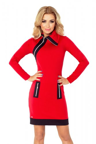129-3 JUSTYNA dress with three zippers - red + black zippers