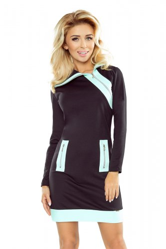 129-6 JUSTYNA dress with three zippers - black + mint zippers