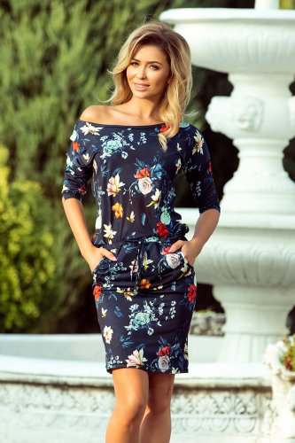 13-91 Sporty dress - colorful flowers on a dark blue background