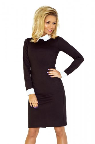 Dress with a white collar - black 143-1