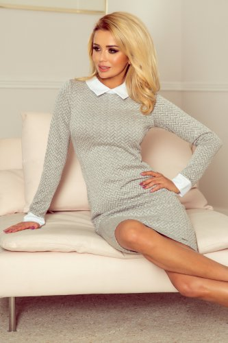 143-3 Dress with a white collar - gray brick