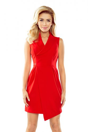 Dress with neckline - red 153-2