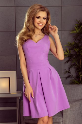 160-5 Dress with neckline and pockets - Violet