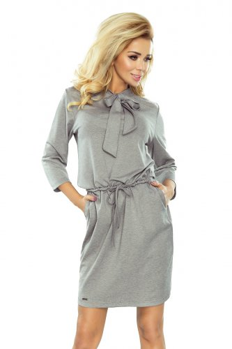 177-2 ZUZIA dress with a binding at the neck - grey