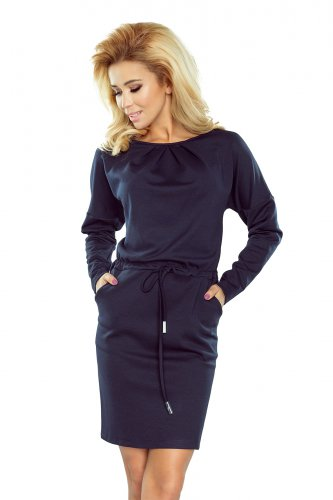 183-2 IZA Dress with three pleats at the neck and long sleeves - navy blue