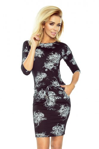 186-1 Sports dress with 3/4 sleeves - white flowers on a black background
