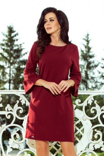 190-8 MARGARET dress with lace on the sleeves - Burgundy color