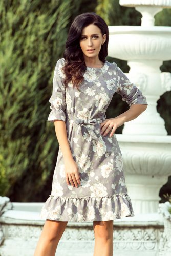 193-4 MAYA Dress with flounces and belt - bright flowers + gray