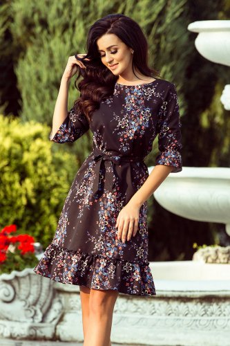 193-5 MAYA Dress with flounces and belt - black + colorful flowers