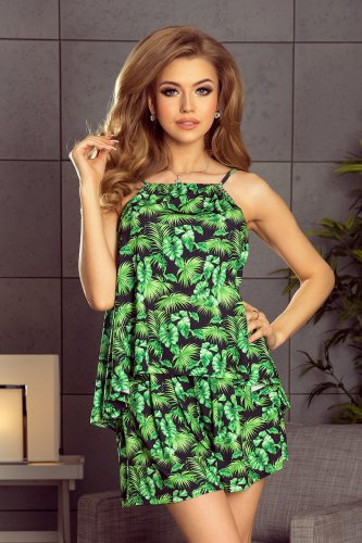 197-1 Set - blouse + shorts - green leaves