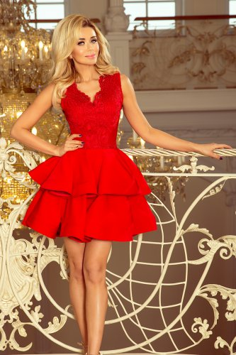 200-4 CHARLOTTE - Exclusive dress with lace neckline - RED