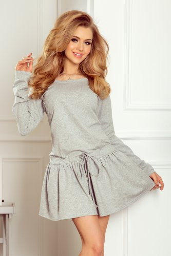 204-1 Sweatshirt dress with long sleeves and pocket - gray