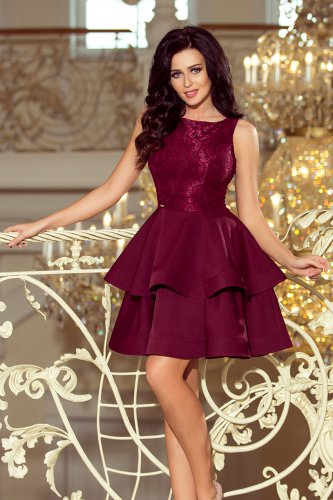 205-2 LAURA flared dress with lace - Burgundy color