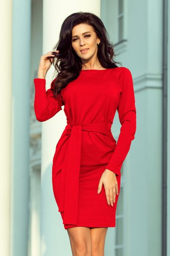 209-6 Dress with a wide tied belt - Red