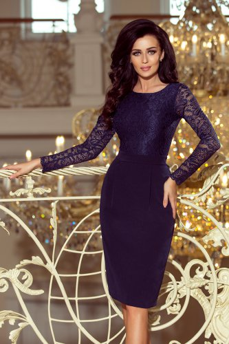 216-1 EMMA elegant pencil dress with lace - navy blue