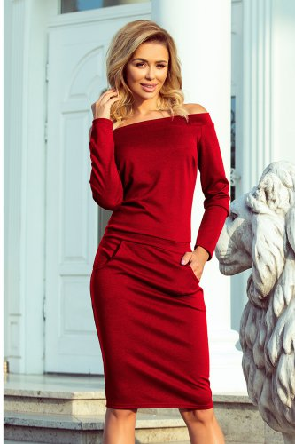 225-2 RAYA Dress with bare shoulders - Burgundy color
