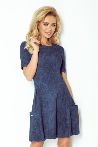 Contrafold dress with pockets - dark blue jeans 99-2