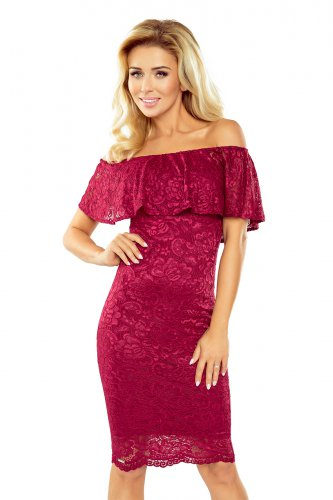 MM 013-3 Dress with frill - lace - Burgundy color