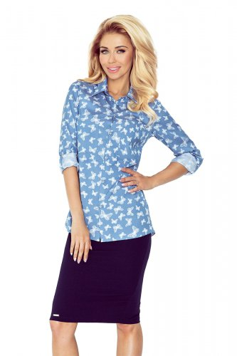 MM 018-6 Shirt with pockets - jeans + butterflies
